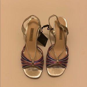 Colorful sandal with chunky heel